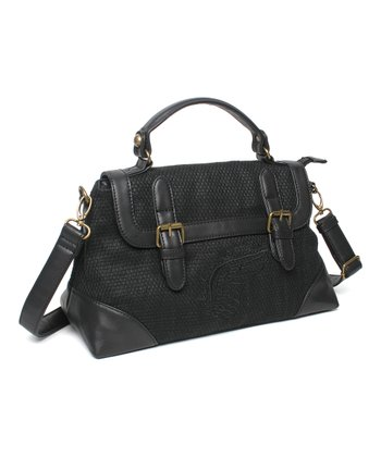 Black Nightfall Organic Flap Satchel