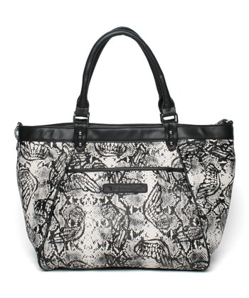 Black & White Amazon Dropped Zipper Tote