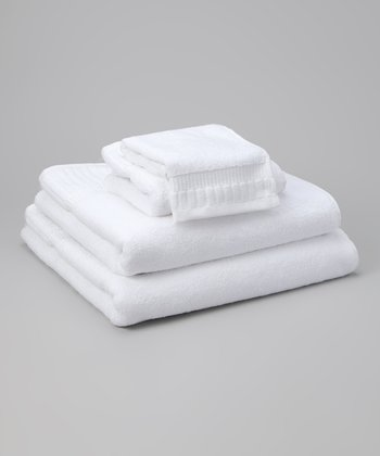 White Piano Key Jacquard Towel Set