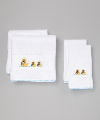 White Duck Embroidered Towel Set