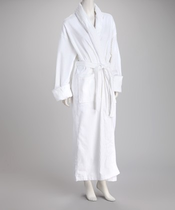 White Stripe Velour Large Bathrobe