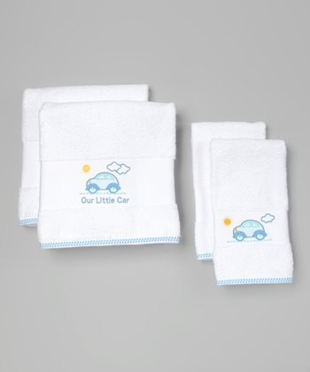 White Car Embroidered Towel Set