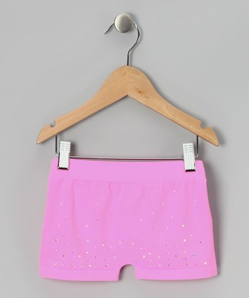 Malibu Pink Rhinestone Active Shorts - Girls