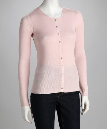 Rose Ribbed Crewneck Cardigan