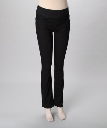 Mama Jeanius Black Life Mid-Belly Maternity Straight-Leg Jeans