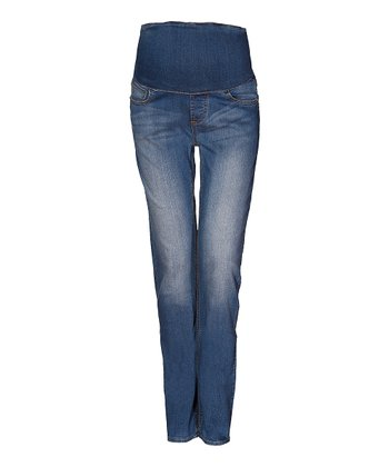 Mama Jeanius Medium Blue Mid-Belly Maternity Straight-Leg Jeans