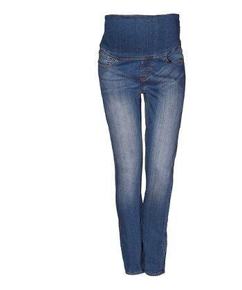 Mama Jeanius Medium Blue Life Mid-Belly Maternity Skinny Jeans