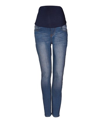 Mama Jeanius Medium Blue Love Over-Belly Maternity Skinny Jeans