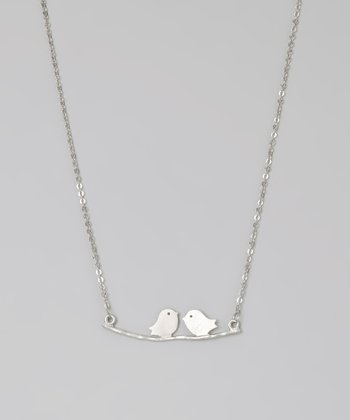 Rhodium Sparrows on a Branch Necklace