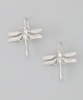 Rhodium Dragonfly Earrings