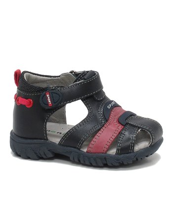 Dark Navy & Dark Red Alan Closed-Toe Sandal