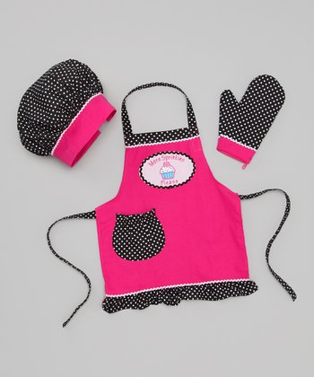 Pink & Brown 'More Sprinkles Please' Apron Set