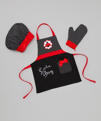 Black & Red 'Love Bug' Apron Set
