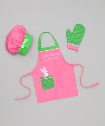 Pink & Green 'Somebunny Loves Me' Apron Set