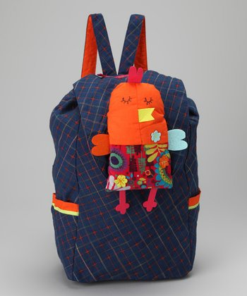 Royal Blue Quilted Backpack & Birdie Plush Toy