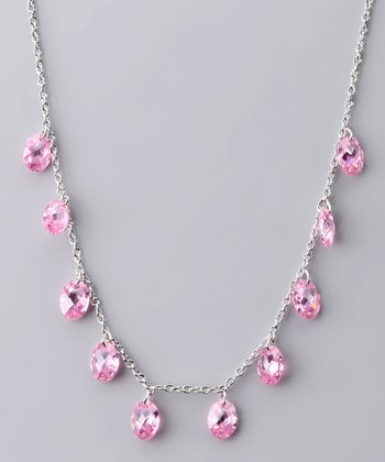 Sterling Silver & Pink Briolette Necklace