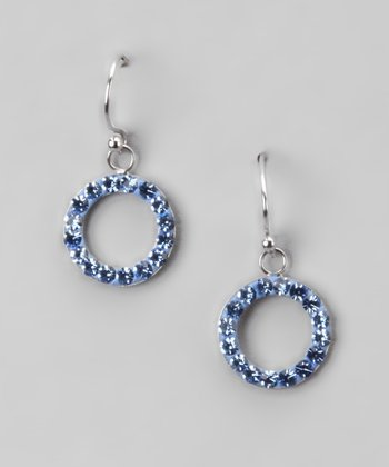 Light Blue Crystal and Sterling Silver Open Circle Drop Earrings