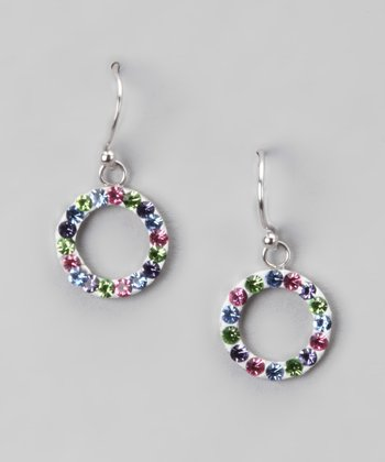 Red & Light Blue Crystal and Sterling Silver Open Circle Earring