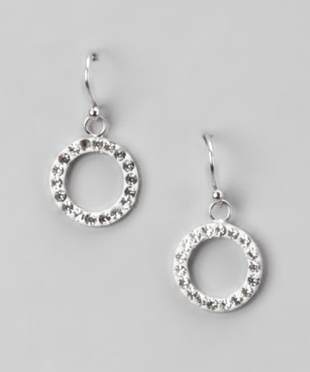 Clear Pavé Crystal and Sterling Silver Open Circle Drop Earrings