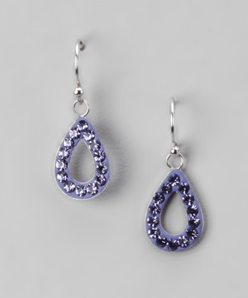 Purple Pavé Crystal Open Teardrop Earrings