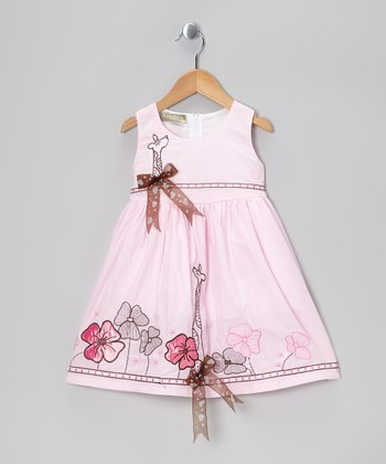 Light Pink Flower Giraffe Dress - Toddler & Girls