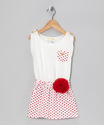 White & Red Polka Dot Pocket Jumper - Toddler & Girls