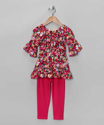 Hot Pink Floral Peasant Tunic & Leggings - Toddler & Girls