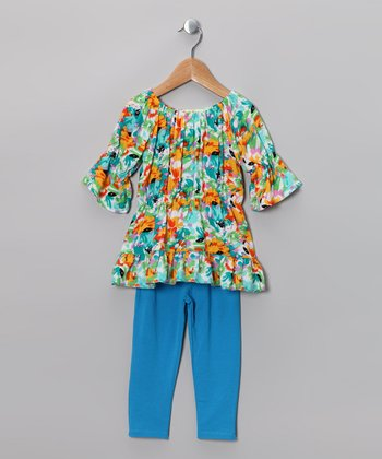 Aqua & Yellow Floral Peasant Tunic & Leggings - Toddler & Girls