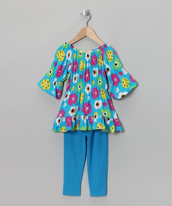 Blue Floral Peasant Tunic & Leggings - Toddler & Girls