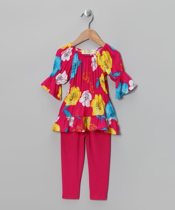 Pink & Yellow Floral Peasant Tunic & Leggings - Toddler & Girls