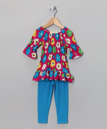 Pink & Aqua Floral Peasant Tunic & Leggings - Toddler & Girls