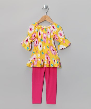 Yellow Butterfly Peasant Tunic & Leggings - Toddler & Girls