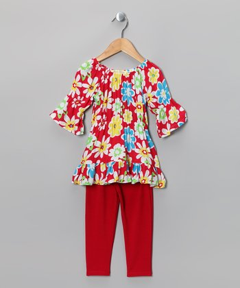 Red & White Floral Peasant Tunic & Leggings - Toddler & Girls