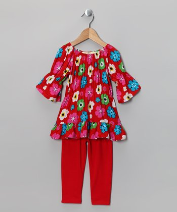Red Floral Peasant Tunic & Leggings - Toddler & Girls