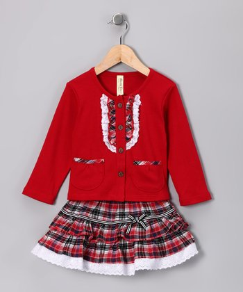 Red Plaid Top & Skirt - Infant, Toddler & Girls