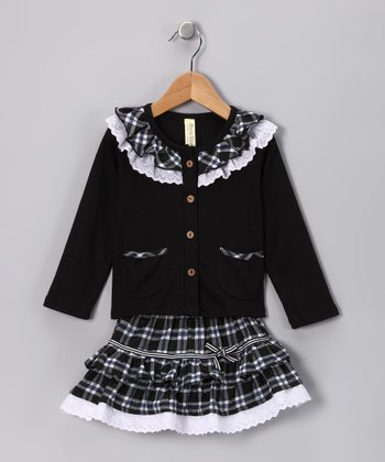 Black Plaid Lace Ruffle Top & Skirt - Infant, Toddler & Girls