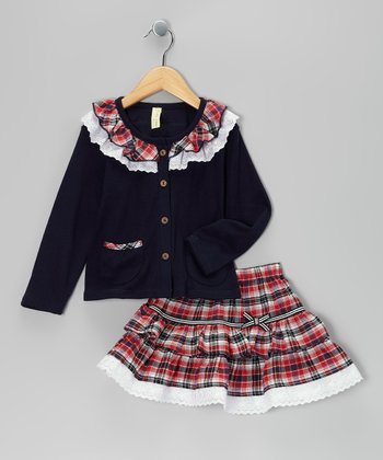 Navy & Red Plaid Lace Ruffle Top & Skirt - Infant & Toddler