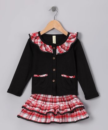 Red & Black Plaid Ruffle Top & Skirt - Infant, Toddler & Girls
