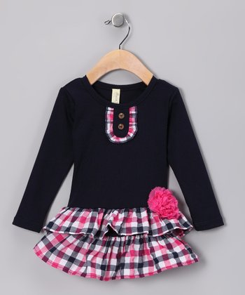 Navy & Pink Plaid Corsage Tiered Dress - Infant