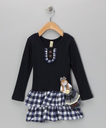 Navy Plaid Doll Tiered Dress - Infant & Toddler