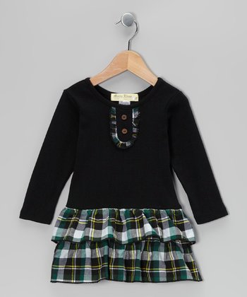 Black & Green Plaid Tiered Dress - Infant