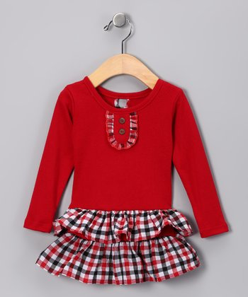 Red & Blue Plaid Tiered Dress - Infant, Toddler & Girls