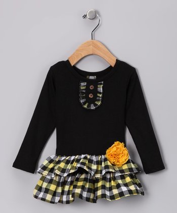 Black & Yellow Plaid Tiered Dress - Infant, Toddler & Girls