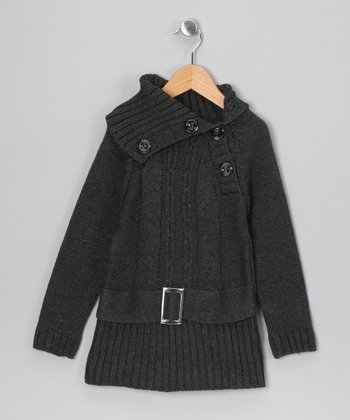 Charcoal Kayla Belted Sweater Dress - Toddler & Girls
