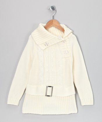 Ivory Kayla Belted Sweater Dress - Toddler & Girls