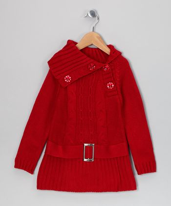 Red Kayla Belted Sweater Dress - Toddler & Girls