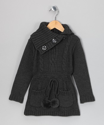 Charcoal Madison Sweater Dress - Girls