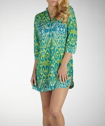 Cerulean & Green Hooded Burnout Cover-Up