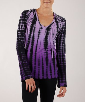 Violet Tie-Dye Hooded Top