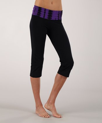 Violet Shirred Straight Capri Pants